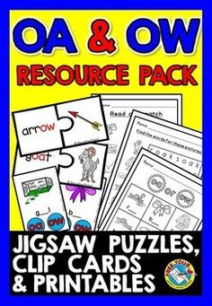 This resource pack is a great tool to practice the vowel teams 'oa' and 'ow' in a fun and motivating way! Included are clip cards, jigsaw puzzles and printables containing attractive and clear pictures! phonics oa ow sounds literacy pack ★Click to view this phonics oa & ow sounds literacy pack! ★