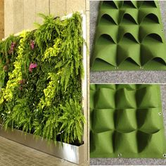 Details about Pockets Outdoor Indoor Wall Herbs Vertical Garden Hanging Planter Bag Green Cover up an ugly fence or create a stunning living wall. Fantastic way to brighten your indoor or outdoor walls and fences with greenery,flowers,herbs and vegeta Vertical Garden Wall, Vertical Gardens, Vertical Planter, Wall Garden Indoor, Herb Wall, Garden Planter Boxes, Planter Pots, Planter Ideas, Hanging Wall Planters