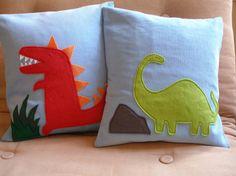 Dinosaur Pillow by Two Birds Textiles contemporary pillows