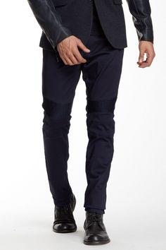 Faux Leather Trim Slim Fit Moto Skinny Jean