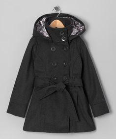 Totally trendy, this double-breasted coat features a mod design with a cozy wool blend and easy button closures. Practical points like a removable lined hood, handy pockets and coordinating belt create wear-anywhere versatility that's perfect for the girl on the go.