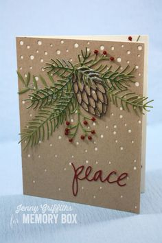 Hi Friends! Today I'm sharing a wintery card featuring the beautiful Pinecone and Greenery die. Maybe I'm just trying to influence our weather into turning cooler---we're baking here! If I keep making wintery cards it will work--right