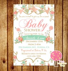 Shabby Chic Baby Shower Invitation Peach and Mint Baby