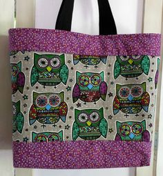 Tote Bag Owls Trimmed in Berry by SewHappytoSew on Etsy, $28.50