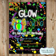 Bowling Party Invitation / Glow In The Dark Bowling Birthday Invitation / Glow Bowling Invitation / Glow Party Invite by HeartsandCraftsy