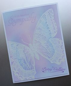 By Patsy Collins. (Used Stampin' Up Swallowtail stamp.) Stamp butterfly at an angle in VersaMark & clear emboss. Sponge. On this example, I used Memento angel pink, lulu lavender, & summer sky inks. Stamped sentiment in lulu lavender. I didn't emboss the sentiment on this one. I like the softer look! Didn't add a ribbon or pop up the image panel either. Very mailable. I made several swallowtail cards, tried different ink colors. Used matte cardstock for some & glossy for others. Love that…