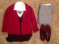 Fall Work: Cira red blazer, Talbots white sleeveless button up, Banana Republic eggplant shirt and grey pants, Gap eggplant loafers, Express silver necklace