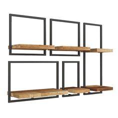 Wood And Metal Shelves, Oak Shelves, Display Shelves, Hotel Inspired Bedroom, Room Planning, Bedding Shop, Adjustable Shelving, Solid Oak, Steel Frame