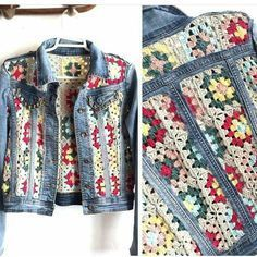 Crochet granny square panels in old denim jacket brings new boho chic to your cold wardrobe and uses up all those unused banker squares or odd balls of yarn too. Czekają na Ciebie nowe Piny: 18 - Poczta This Pin was discovered by nih Likes, 20 Comments - Cardigan Au Crochet, Crochet Coat, Crochet Jacket, Crochet Cardigan, Crochet Clothes, Diy Clothes, Pull Crochet, Mode Crochet, Crochet Baby