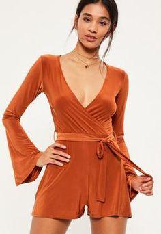 Orange Slinky Wrap Belted Playsuit