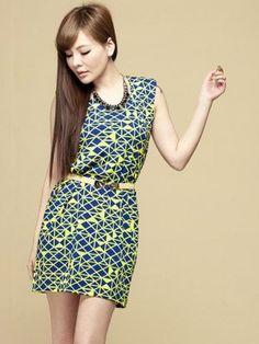 Summer Geometrical Pattern Cotton Sleeveless Dress With Belt