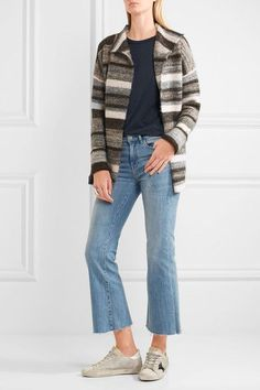 James Perse - Striped Stretch-knit Cardigan - Gray - 2