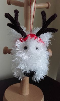 White Fluffy dog Christmas Tree decoration Dog by Stewscraft