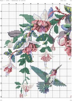 Sweetness of nature 1 Cross Stitch Bookmarks, Cross Stitch Bird, Beaded Cross Stitch, Crochet Cross, Cross Stitch Animals, Cross Stitch Flowers, Cross Stitch Charts, Filet Crochet, Cross Stitching