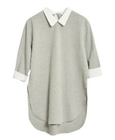 Open Hem Point Collar Cotton Blouse - Clothing