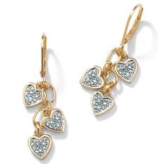 Each of these beautiful earrings features three dangling hearts with a single…