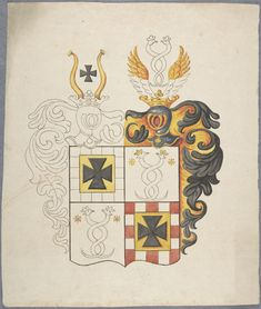 18th Century partially completed Coat of Arms illustration