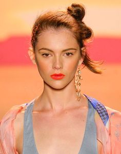 Spring 2012 Fashion Week Beauty Trends - Best Hair and Makeup at New York Fashion Week - Harper's BAZAAR. Bright Bold Lips Jen Kao: Electric Lips