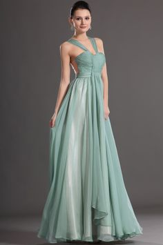 osell wholesale dropship Chiffon Tulle Pleated V Neck Sleeveless Floor Length A Line Evening Prom Dresses $81.17