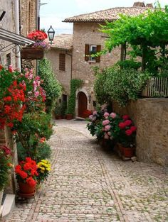 beautiful cobblestone streets in montefalco, italy