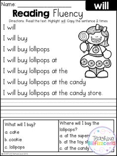 Free Kindergarten Reading Fluency and Comprehension Set 1 Reading Comprehension Worksheets, Reading Fluency, Reading Passages, Kindergarten Reading, Reading Skills, Teaching Reading, Reading Activities, Free Reading, Guided Reading