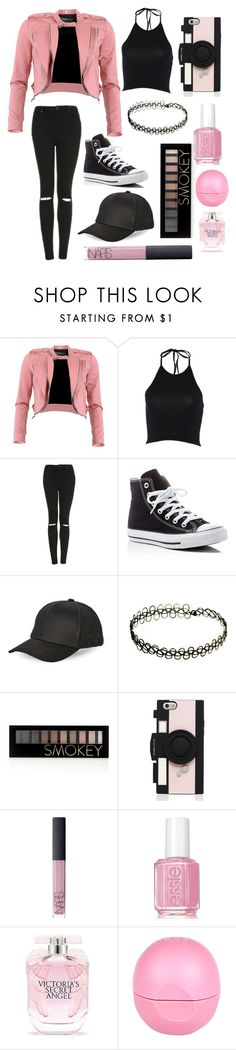"""Pink Rebel"" by hipopaws on Polyvore featuring FRACOMINA, Topshop, Converse, BCBGeneration, Forever 21, Kate Spade, NARS Cosmetics, Essie, Victoria's Secret and River Island"