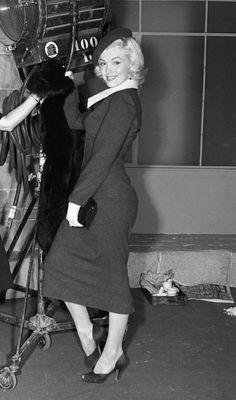 Marilyn Monroe on the set of Gentlemen Prefer Blondes, 1953.