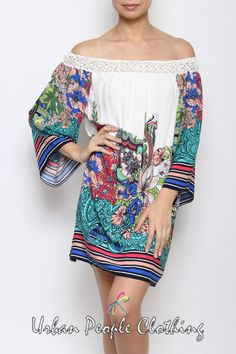 afd1225dba85f Floral Print Off Shoulder Crochet Trim Bell Sleeve Dress Boho Chic Bohemian  M  UrbanPeopleClothing
