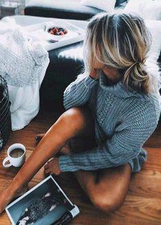 grey knits + coffee