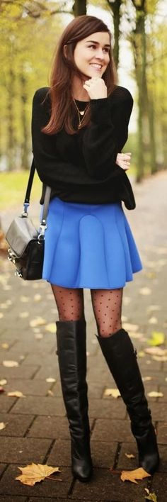 black sweater, mini blue skirt and knee long boots