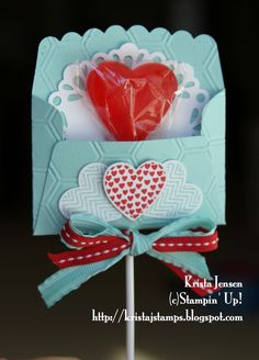 Krista's Stamper Room: Lollipop Favor from Hearts a Flutter tutorial from… Valentine Treats, Saint Valentine, Valentine Day Crafts, Valentine Decorations, Be My Valentine, Mothers Day Crafts, Candy Crafts, Fun Crafts, Crafts For Kids