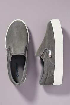 Superga Platform Slip-On Sneakers by in Grey Size: Slip-Ons at Anthropologie Black Slip On Sneakers Outfit, Platform Slip On Sneakers, Casual Shoes, Givenchy, Balenciaga, Valentino, Gucci, Sneaker Outfits, Anthropologie