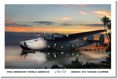 Pan American World Airways Boeing 314 Yankee Clipper in the Pacific, by Ron Cole Open Edition, unsigned Premium Poster on semigloss (170gsm).