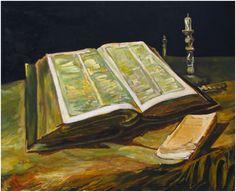 Cópia feita por Israel Pedrosa de Natureza Morta com Bíblia, de Van Gogh - foto Samille Reis