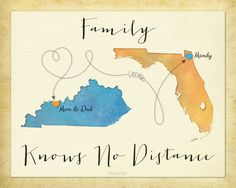 Christmas Gift for Family, Long Distance Gift for Family, Family Knows No Distance Quote, Going Away Gift, Custom Gift for Mom and Dad by KeepsakeMaps on Etsy