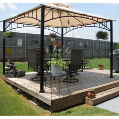 Threshold madaga gazebo replacement canopy is highly respected and has always been a popular choice by many people its cheap Backyard Patio Designs, Backyard Projects, Backyard Landscaping, Landscaping Ideas, Hot Tub Gazebo, Gazebo Canopy, Gazebo Replacement Canopy, Wooden Gazebo, Floating Deck