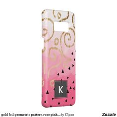 gold foil geometric pattern rose pink brushstrokes Case-Mate samsung galaxy s8 case