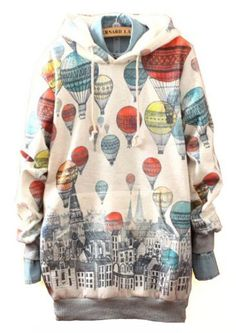 White Hooded Balloons Print Loose Sweatshirt