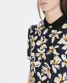 Image 6 of PRINTED TOP WITH SHIRT COLLAR from Zara