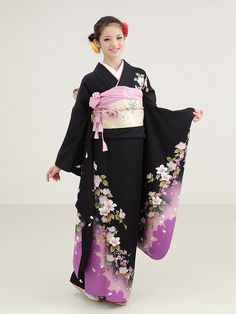 Types of Kimono: Furisode Traditioneller Kimono, Japanese Kimono Dress, Furisode Kimono, Kimono Style Dress, Long Sleeve Kimono, Japanese Costume, Kimono Fashion, Japanese Outfits, Japanese Fashion