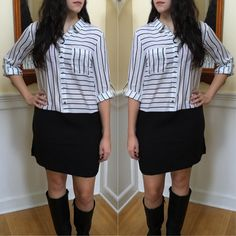 This gorgeous Striped Perfection Dress features a striped bodice with button closure, a single breast pocket and a contrasted solid black skirt. -- Spring Summer Fall Winter Fashion. www.psiloveyoumoreboutique.com
