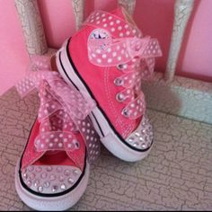 Mia's Shoes - I added jewels to the toes and changed the laces and VIOLA!! So cute!