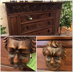 A true show stopper: antique Italian chest with carved pulls depicting opera characters. #antiques #decor #gifts #interiordesign #DesignImagesAugusta #SurreyCenter