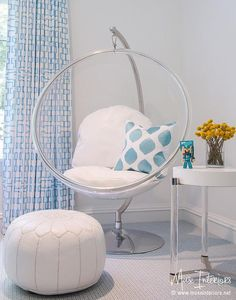 Superior White And Blue Girl Room With Eero Aarnio Hanging Bubble Chair And Indoor  Or Outdoor Stand   Contemporary   Girlu0027s Room