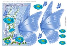 Blues off the edge Butterfly on Craftsuprint designed by Angela Ludwig - A pretty card to suit a variety of occasions. I hope you enjoy this card. Angela x - Now available for download!