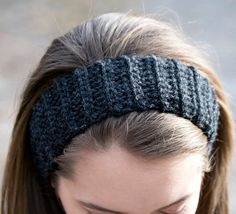 Satin Lined Winter Headband in Black Wool Head by deMarieandMarie