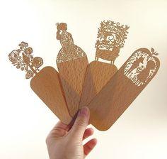 Laser cut wooden Bookmarks.