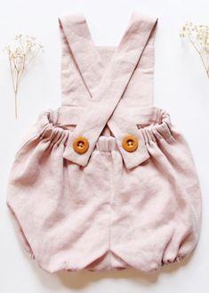 Handmade Blush Pink Linen Baby Romper | BloomingKiwi on Etsy