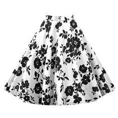 Black and White Floral Vintage Midi Skirt