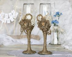 Rustic Chic Wedding glasses with rope, lace, pearl handmade flower on Etsy, $45.00.